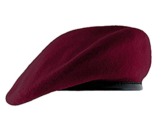 Maroon Beret with Leather Pre Shaped (7 1/2