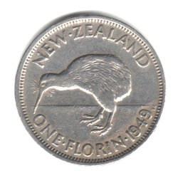 1949 New Zealand Florin (2 Shillings) Coin KM#18