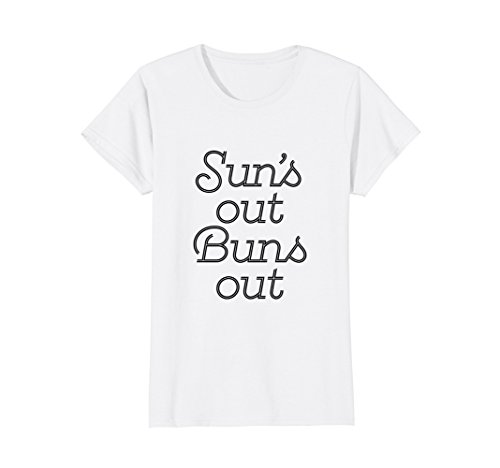 Womens Sun's Out Buns Out Summertime Pool Party Shirt Medium - Vegas Show Hours Fashion Las
