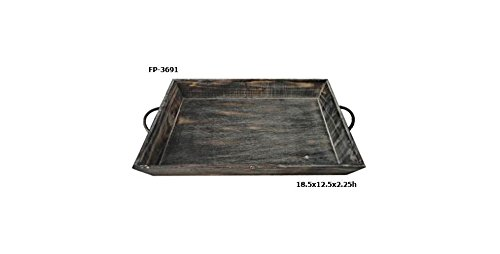 Cheung's FP-3691 Single Wooden Tapered Tray with Metal Side Handles
