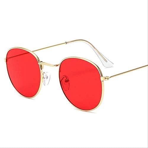 Lunettes de soleil rondes classiques avec petit cadre pour homme et femme - Design de marque en alliage - Lunettes de soleil vintage - Or océan rouge