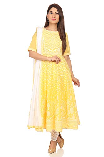 (BIBA Yellow Anarkali Cotton Suit Set Size 34)