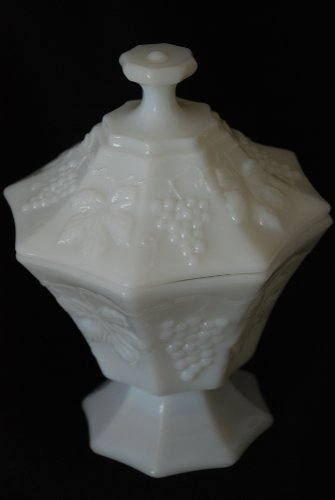 Indiana White Milk Glass Pedestal Harvest Grapes Candy Dish Compote With (Milk Glass Pedestal)