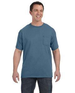 (Hanes-6 oz. Tagless T-Shirt with Pocket~Denim Blue~Adult-MD)