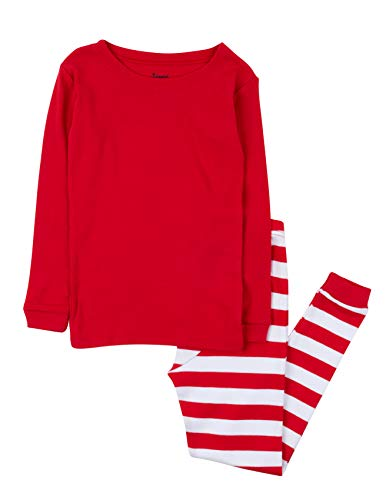 Leveret Kids & Toddler Boys Pajamas Christmas 2 Piece Pjs Set 100% Cotton (Size 14 Years, Red Top & Striped)