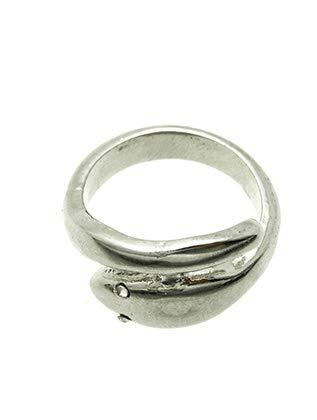 Mayas Grace Metal Snake Crystal Stone Ring Silver