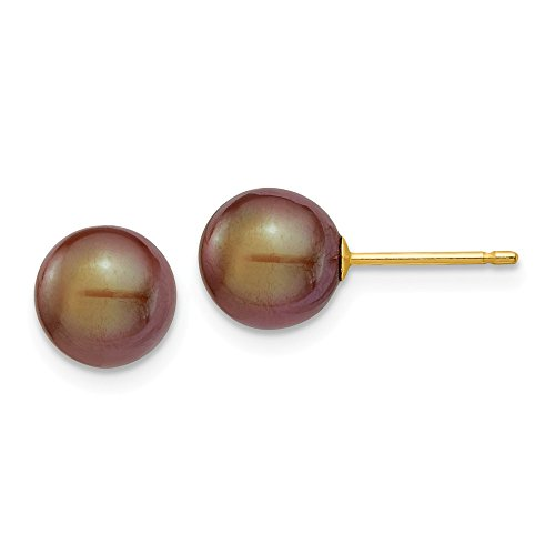 Tourmaline Earring Emerald Pink Cut - 14k Yellow Gold 8mm Coffee Round Freshwater Cultured Pearl Stud Post Earrings Ball Button Fine Jewelry Gifts For Women For Her