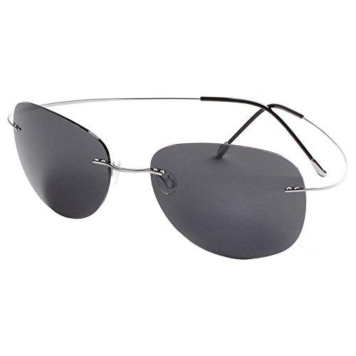 Mnxo Rimless Lens Titanium Polarized Sunglasses for Men and Women – Lightweight - Sunglass Titanium