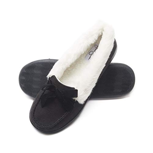Jessica Simpson Womens Micro Suede Moccasin Indoor Outdoor Slipper Shoe (Size Large, Black)