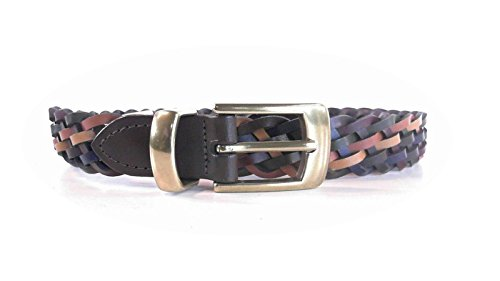 Leather Multi-Color Women's Braided Woven Skinny Belt