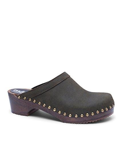 Sandgrens Swedish Low Heel Wooden Clog Mules for Women | Athens Olive DK, EU 37