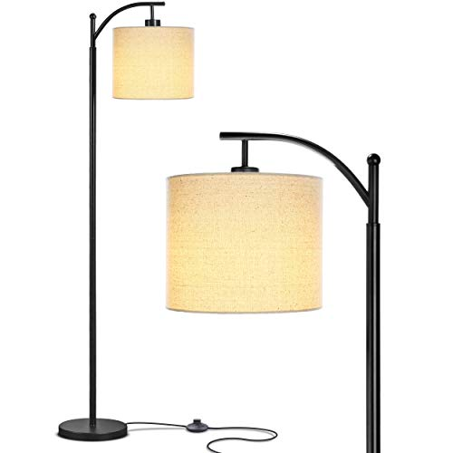 - Brightech Montage - Bedroom & Living Room LED Floor Lamp - Standing Industrial Arc Light with Hanging Lamp Shade - Tall Pole Uplight for Office - with LED Bulb- Black