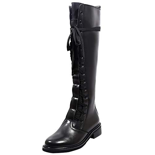 Womens high Eleeraser Round Buckle Heel Leather Boots Toe Black Knee ELEHOT Block 7Hndw7qX