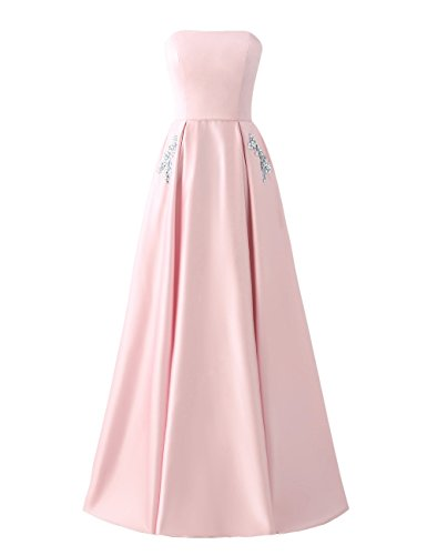 Libaosha Satin Strapless Formal Gowns with Beaded Pockets Lace up Back Prom Dresses Long (US10, Pearl ()