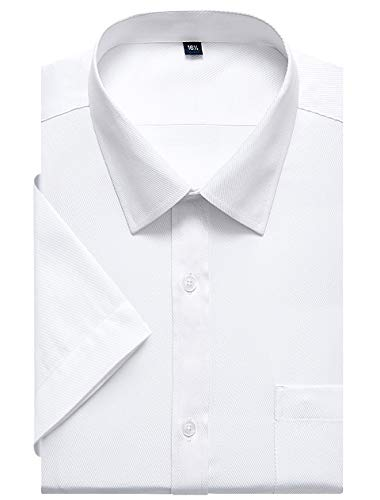 J.VER Men's Business Dress Shirts Regular Fit Solid Color Long Sleeve Spread Collar - Color:001 Twilled White, Size:17.5