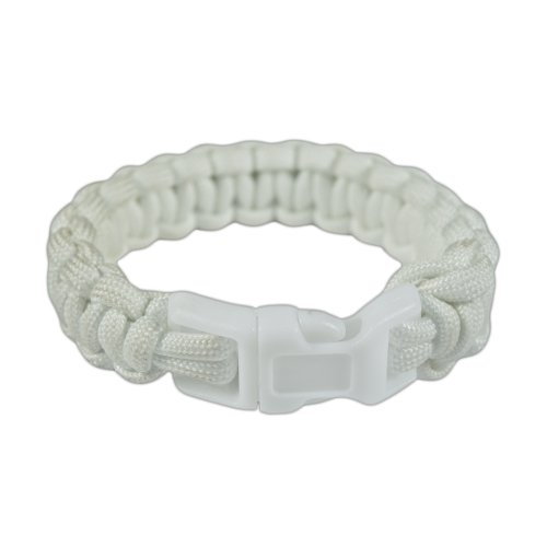 [Paracord Planet Cobra Bracelet - Type III 7-Strand Commercial Grade 550 Paracord - Sturdy Plastic Side-Release Buckle - Camping, Hiking, Outdoors, Emergency, Survival - Made in the USA (White, 7-inch)] (Double Strand 7