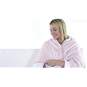 Verseo Best Thermogear Portable size USB Powered Microfiber Electric Heated Shawl, Microfleece Heating Lap and Shoulder Blanket, Warmest Snuggle Microplush Material (Pink)