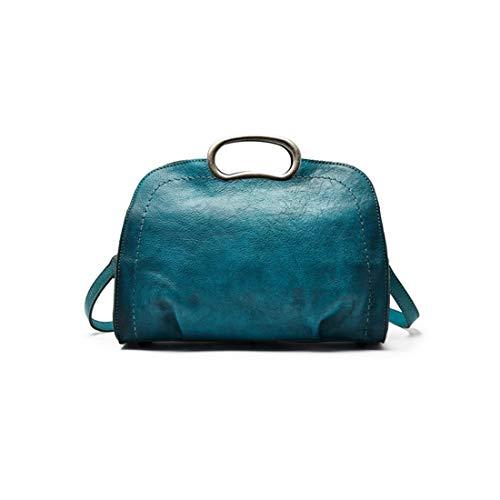 Las Genuino Mujeres Los Hechas Carteras Blue Bolso Olprkgdg A Crossbody Mano Monederos Blue green Vintage color green Del Para Cuero De O8OZqXz