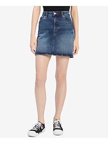 Calvin Klein Jeans Women's Denim Mini Jean Skirt, Keanu Blue, 32