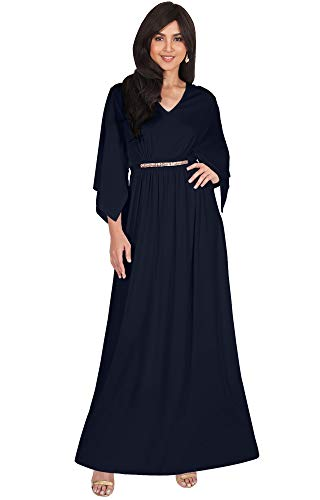 KOH KOH Plus Size Womens Long V-Neck Half Batwing Dolman Sleeve Evening Cocktail Flowy Empire Waist Bridesmaid Formal Kaftan Wedding Guest Gown Gowns Maxi Dress Dresses, Dark Navy Blue 3XL 22-24