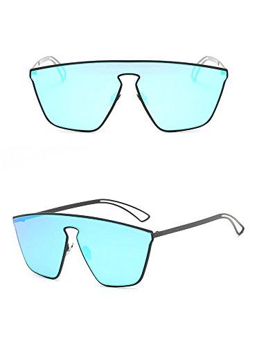 Arena negra Caja Sol caja de Hombre para Arena Gafas de de Gafas de sol Acero Moda Siamés Gafas de RFVBNM hielo Hielo Negra azul Sol Color Azul Brillante Inoxidable Lentes Tendencia Ff6wy