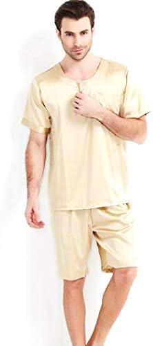 ンパジャマ メンズ半袖ナイトウェアパジャマセットの100%マルベリーシルク軽量パンツソリッドスーツ肥厚ブラッシュ暖かい部屋着 -4561