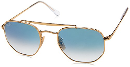 Ray-Ban RB3648 001/3F Non-Pol Sunglasses, Gold/Blue Gradient - Ray Ban Hexagonal