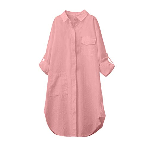 Aunimeifly Women's Cotton Linen Casual Solid Long-Sleeved Long Shirt Pocket Button Top Blouse Pink