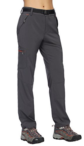 MIER Womens Outdoor Cargo Pants Lightweight Stretchy Hiking Pants with Large Zipper Pockets, Quick Dry