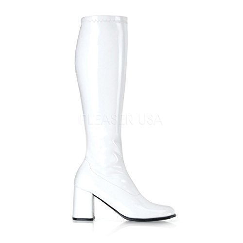 Knee High Stretched Chunky Plat. Sexy Boots Heel 3