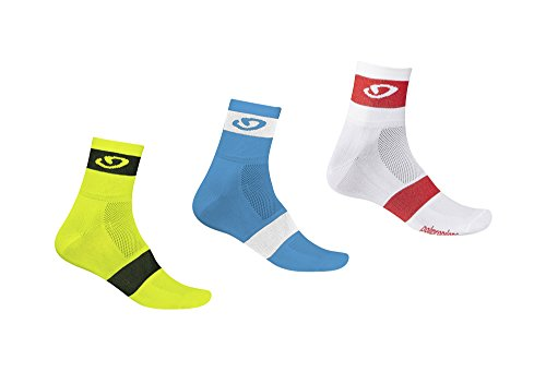 Giro Comp Racer Socks 3 Pack - 2017 - yellow/blue/red, medium