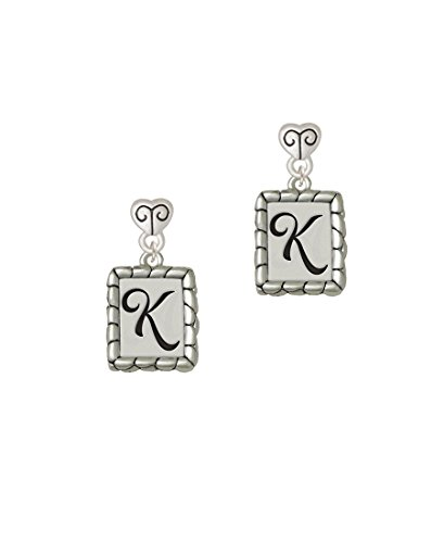 Pebble Border Initial - K - Scroll Heart Earrings ()
