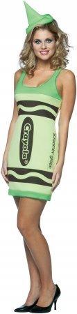 [Crayola Tank Dress Costume - Small/Medium - Dress Size 4-10] (Adult Green Crayon Costumes)