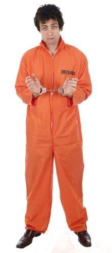 [Orange Prison Overall Prisoner Convict Jail Fancy Dress by Henbrants] (Jail Costume For Kids)