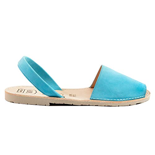 Classic Natural Jute - Avarcas Sandals for Women - Handmade in Spain with Natural Leather- Slip on/Slingback Flats (US 11 (EU 41), Turquoise)