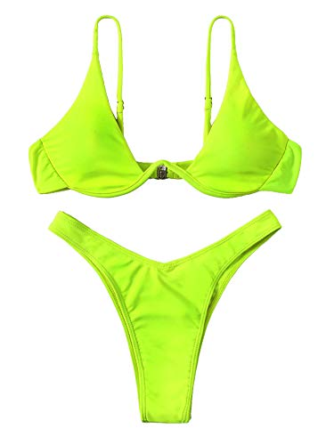 Verdusa Women's Sexy Triangle Bathing Two Pieces Swimsuit Bikini Set Neon Green M ()