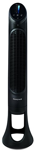 "Honeywell HYF260BC QuietSet 40"" Tall Tower Fan, Black, with Oscillation, Slim Profile, Auto-dim Lights and Easy-Touch Controls"