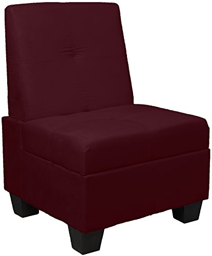 holstered Tufted Padded Hinged Storage Ottoman Bench, 24-inch-size, Microfiber Suede Wine Red (24 Inch Wine Storage)