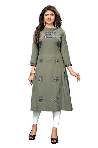 Delisa New Womens Kurta Indian Kurtis for Women Casual Tunic Kurti Tops Long Dress 00 (Light Green-215, XXL-44)