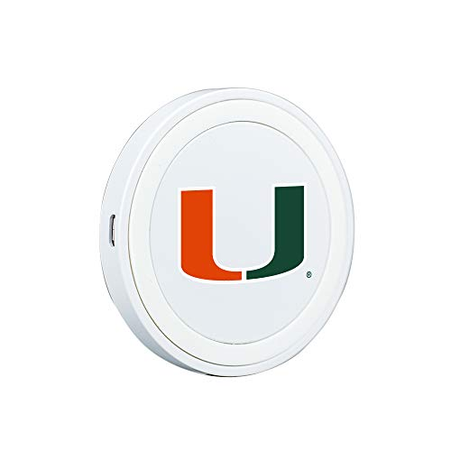 QuikVolt U Miami Hurricanes Launch Pad Wireless Charger - White (Phone Charger Miami Hurricanes)