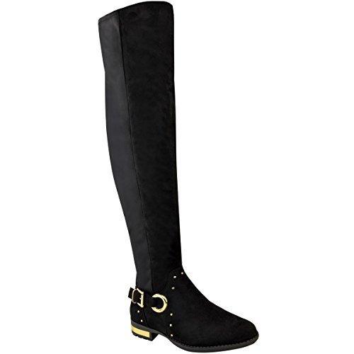 Fashion Thirsty Mujer Por Encima de La Rodilla Botas Elástico con tachuelas Sobre Rodilla Planos Casual Talla Negro Ante Artificial