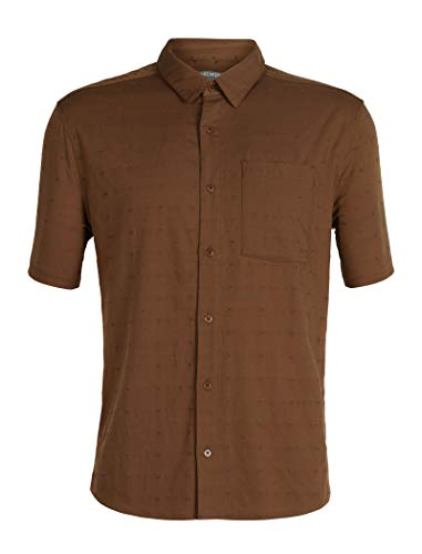 Icebreaker Merino Men's Compass Short Sleeve Shirt, Tobacco/Monsoon/Dobby, Large
