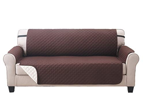 Elaine Karen Deluxe Reversible Extra Wide Sofa Furniture Protector, Coffee/Tan 80