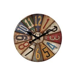 FirsTime Vintage Plates Wall Clock - A Collage of Vintage License Plate-Inspired Numbers Wall Clock that will add color anywhere in home and office spaces - Measures 15½ in diameter - Medium-Density Fibreboard Made - Furniture & Decor - Imported