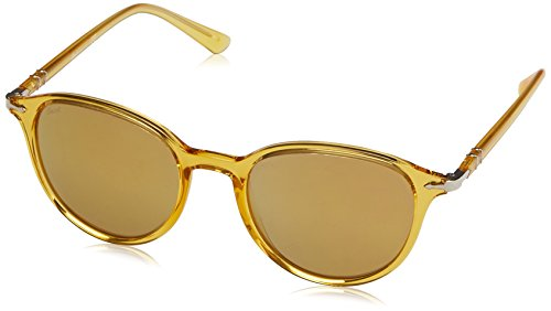 Persol Unisex PO3169S Sunglasses Yellow/Light Brown Mirror Gold ()