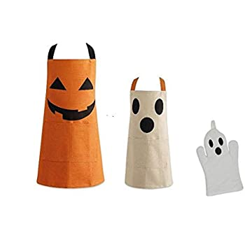 Set of 2 Halloween Kitchen Chefs Aprons Plus Ghost Oven Mitt 100% Cotton for Parent and Child