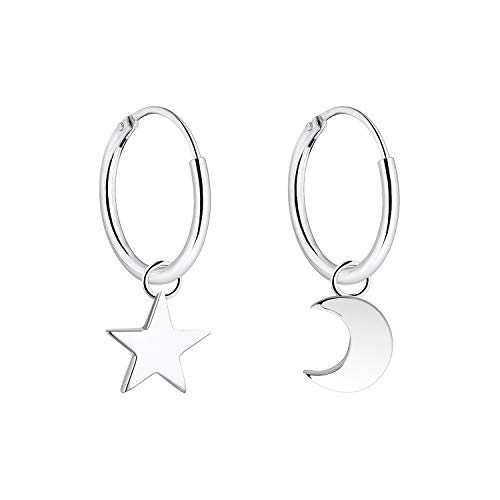 YL 15MM Star Moon Hoop Earrings Sterling Silver Polished Endless Earrings Dangle Hoops Diameter Jewelry]()