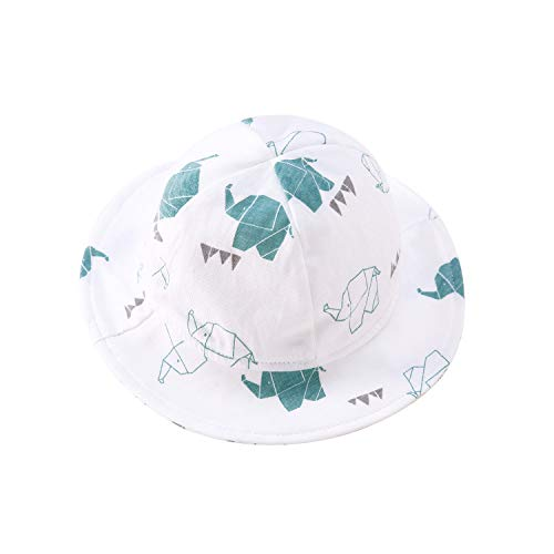 pureborn Baby Hat Infant Boys Girls Sun Hats Bucket Breathable Sun Hat Cotton White with Elephant XL (12-18 Months)