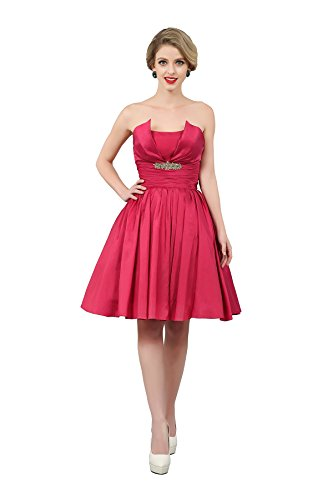 Unique Strapless Taffeta Knee Length Short Wedding Bridesmaid Party Dresses - Women Taffeta Brides Maid Dress