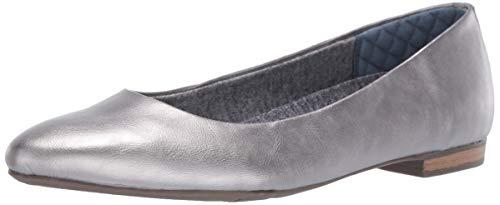 (Dr. Scholl's Shoes Women's Aston Ballet Flat, Pewter Glitter Metallic, 11 W US)